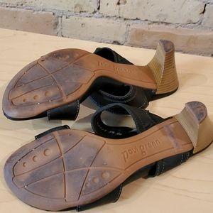 Paul Green Shoes - Paul Green Black Leather Buckle Sandal